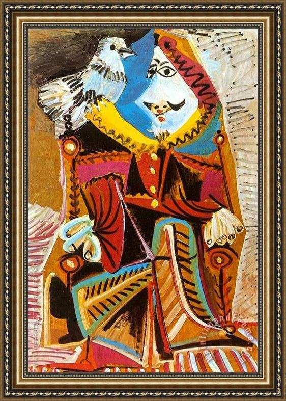 Pablo Picasso Musketeer with Dove 1969 Framed Painting