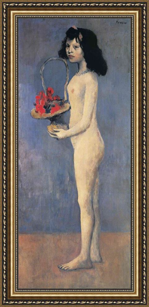 Pablo Picasso Young Naked Girl with Flower Basket 1905 Framed Print