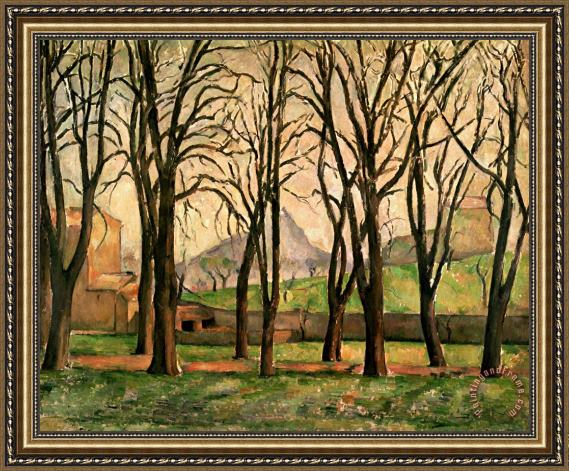 Paul Cezanne Chestnut trees at the Jas de Bouffan Framed Painting