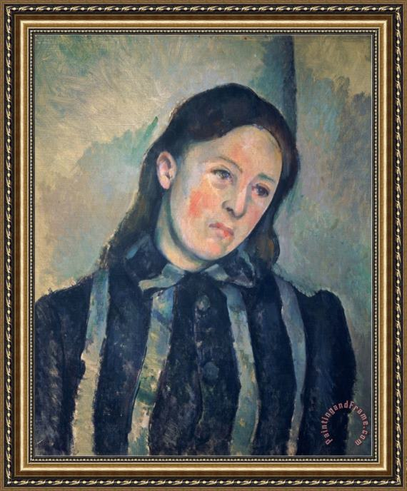 Paul Cezanne Portrait of Madame Cezanne with Loosened Hair 1890 92 Framed Print