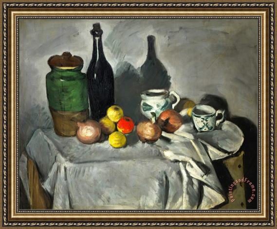 Paul Cezanne Still Life Pots Bottle Cup And Fruit Circa 1871 Framed Print
