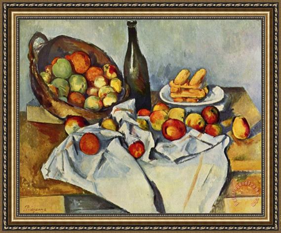 Paul Cezanne Still Life With Bottle And Apple Basket Framed Painting