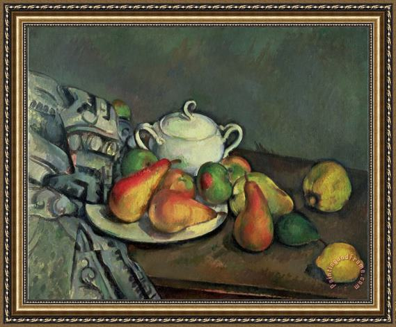 Paul Cezanne Still Life with Sugar Basin And Fruit Framed Painting