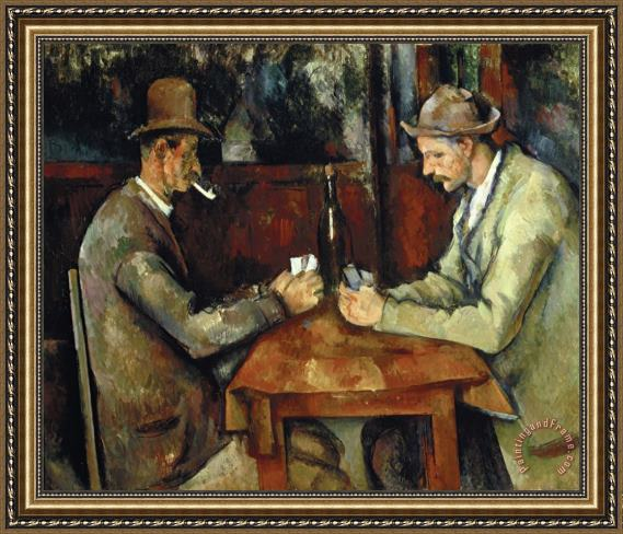 THE CARD PLAYERS BY PAUL CEZANNE OIL PAINT PRINT ON FRAMED CANVAS WALL ART