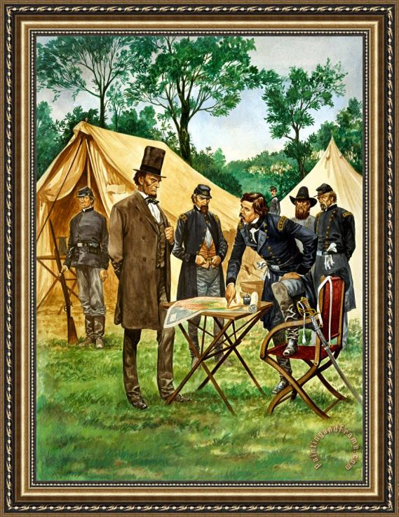 Peter Jackson Abraham Lincoln plans his campaign during the American Civil War Framed Print