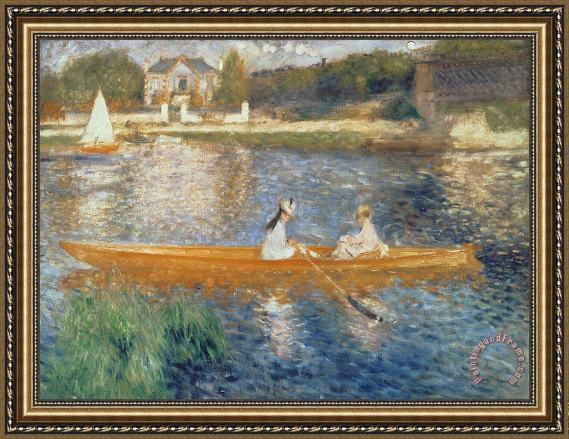 Pierre Auguste Renoir Boating on the Seine Framed Print