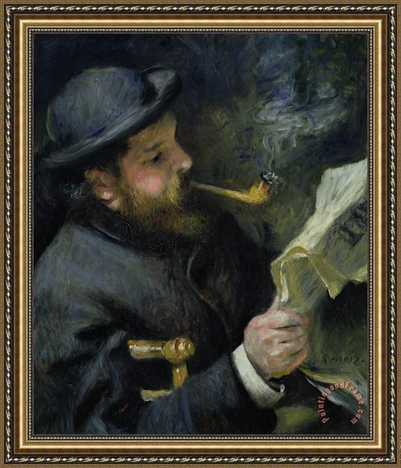 Pierre Auguste Renoir Claude Monet reading a newspaper Framed Painting
