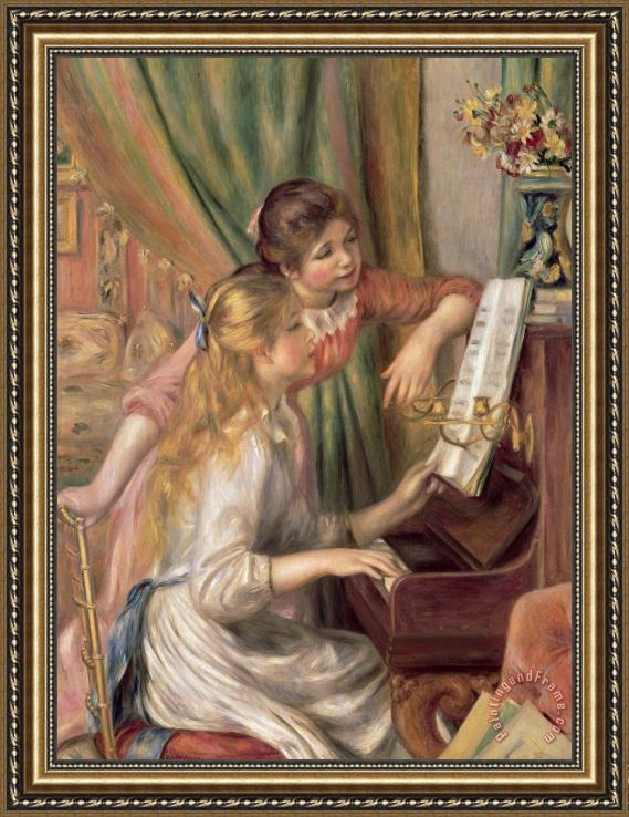 Pierre Auguste Renoir Young Girls at the Piano Framed Print