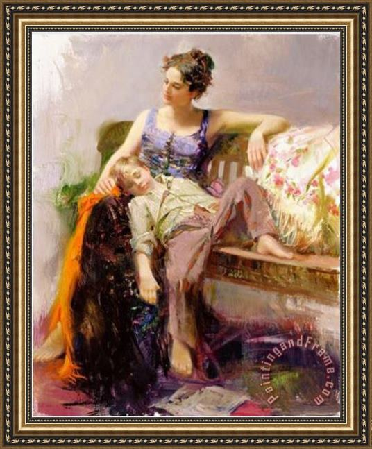 Pino Daeni Afternoon Nap Framed Painting
