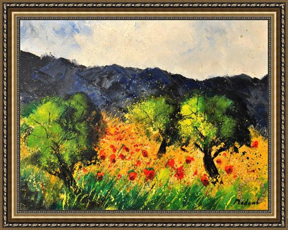 Pol Ledent Olive trees and poppies Framed Print