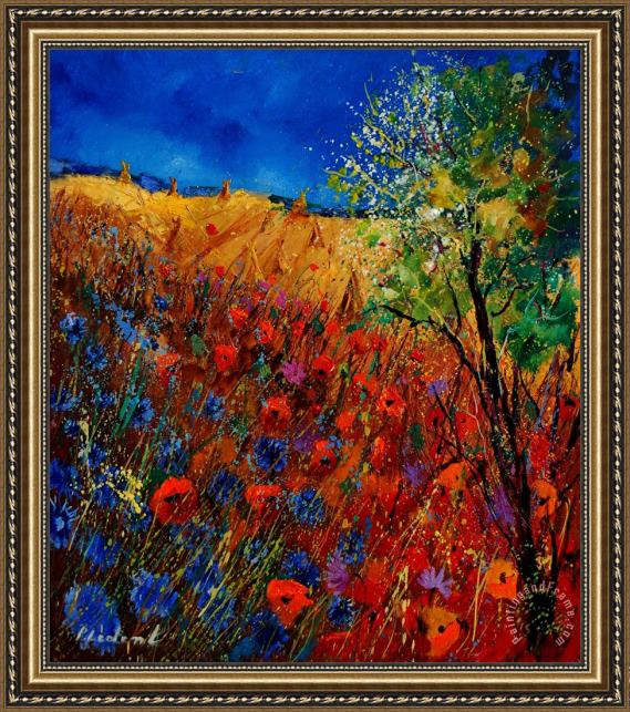 Pol Ledent Summer landscape with poppies Framed Print