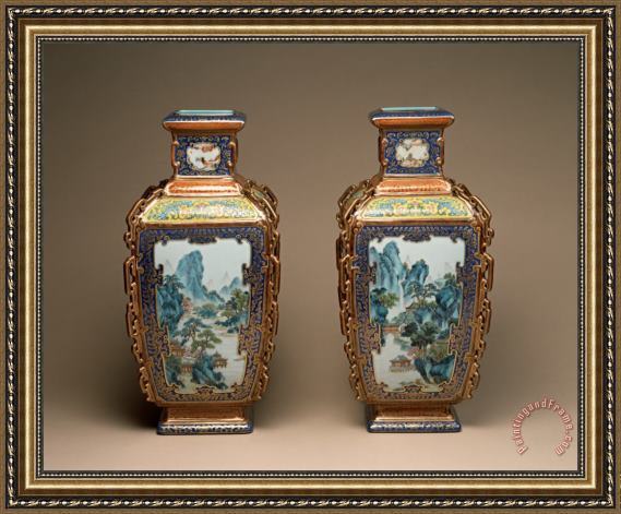 Porcelain vase Pair of Famille Rose Vases with Landscapes of The Four Seasons Framed Painting