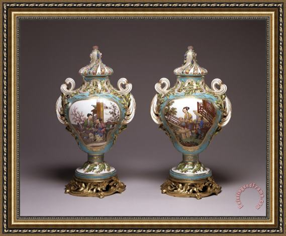 Porcelain vase Pair of Potpourri Vases Framed Print