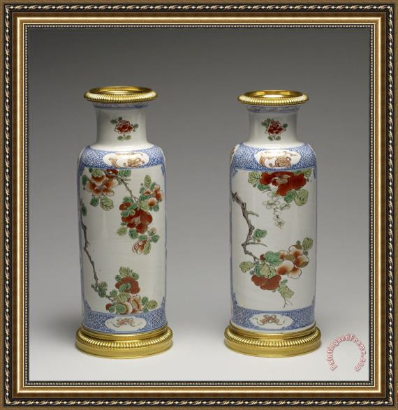 Porcelain vase Pair of Vases with a Blossoming Branch Framed Print