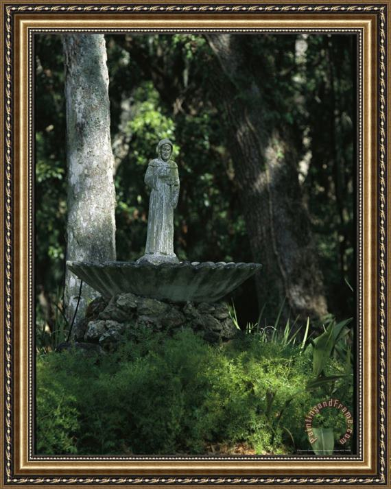 Raymond Gehman Fountain Bird Bath on The Saint George Episcopal Church Grounds Framed Print