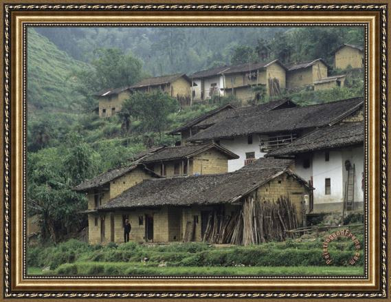 Raymond Gehman Terraced Village with Tiled Roofs And Mud Brick Houses Rice Fields Yang River Canyon Framed Print