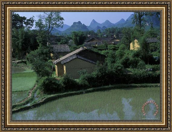 Raymond Gehman Yangdi Valley Farm Fields Guilin Guangxi China Framed Painting