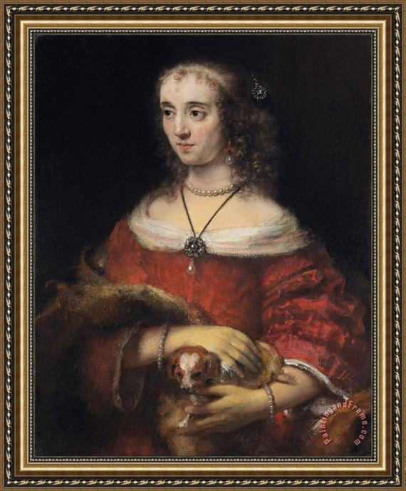 Rembrandt Harmensz van Rijn Portrait of a Lady with a Lap Dog Framed Painting