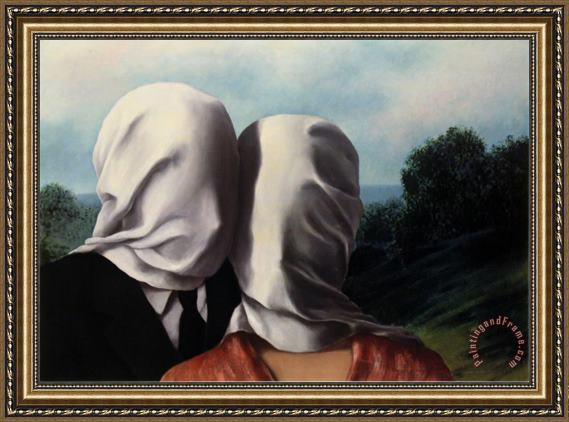 rene magritte Les Amants Lovers Framed Painting