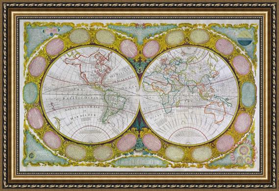 robert wilkinson a new and correct map of the world framed. Black Bedroom Furniture Sets. Home Design Ideas