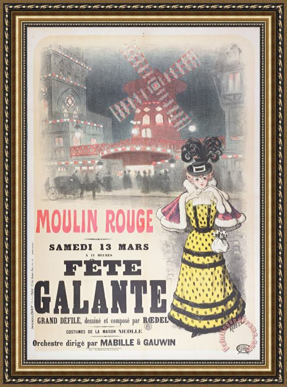 Roedel Poster Advertising A Fete Galante At The Moulin Rouge Framed Painting