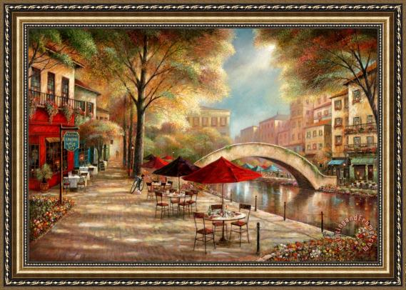 Ruane Manning Riverwalk Cafe Framed Print For Sale