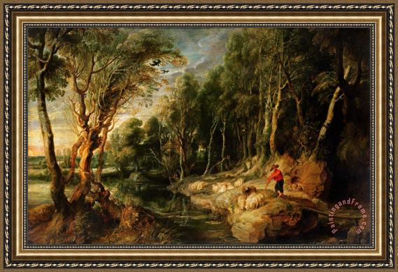 Rubens A Shepherd with his Flock in a Woody landscape Framed Print ...