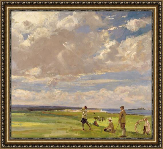Sir John Lavery Lady Astor Playing Golf At North Berwick Framed Painting