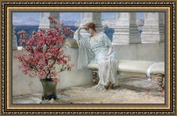 Sir Lawrence Alma-Tadema Her eyes are with her thoughts and they are far away Framed Print