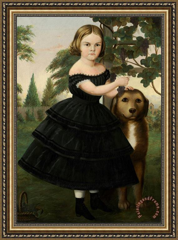 Susan Catherine Waters Portrait of a Girl And Her Dog in a Grape Arbor Framed Painting