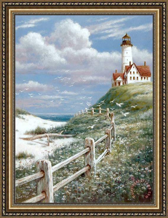 T. C. Chiu Lighthouse with Fence Framed Print