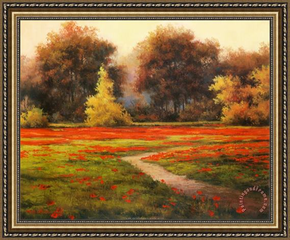 T. C. Chiu Poppy Meadows I Framed Painting