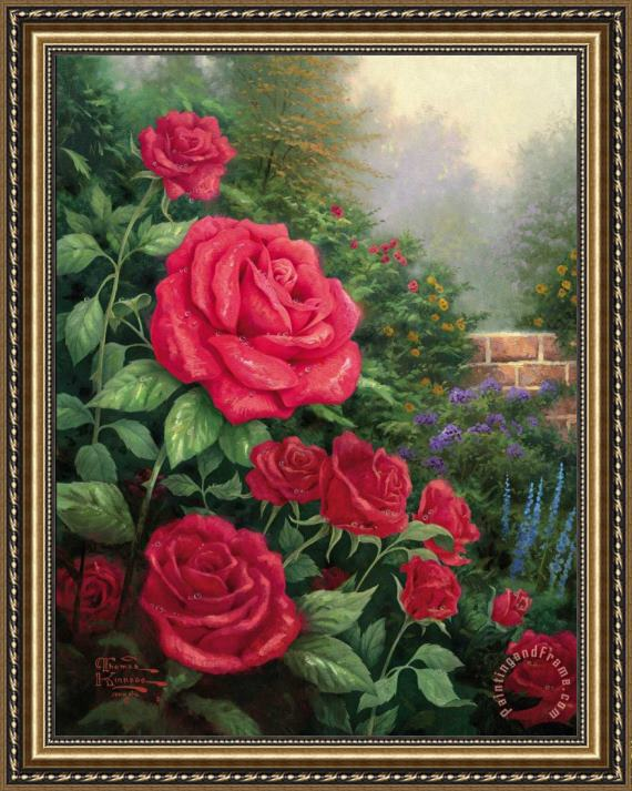 Thomas Kinkade A Perfect Red Rose Framed Print