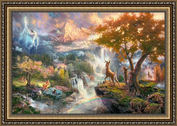Thomas Kinkade Bambi's First Year Framed Print