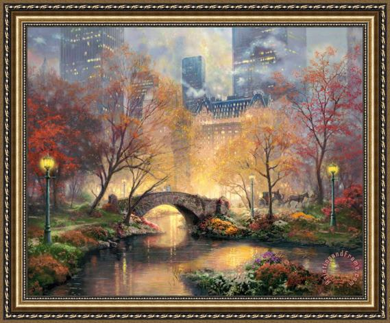 Thomas Kinkade Central Park in The Fall Framed Print