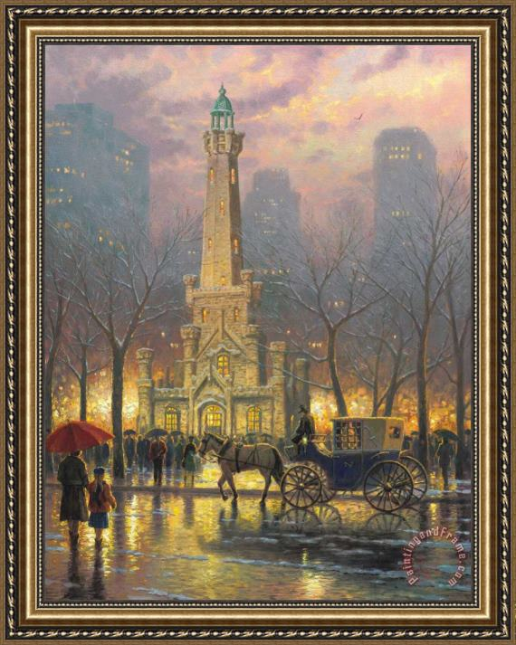Thomas Kinkade Chicago Winter At The Water Tower Framed