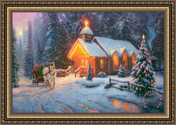 thomas kinkade christmas chapel i framed print