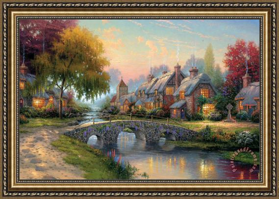 Thomas Kinkade Cobblestone Bridge Framed Print