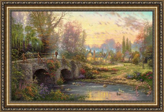Thomas Kinkade Cobblestone Evening Framed Print