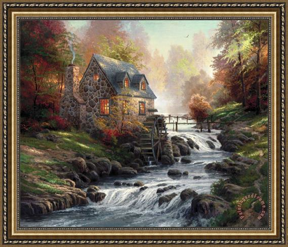 Thomas Kinkade Cobblestone Mill Framed Painting