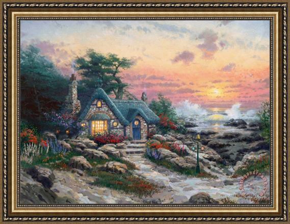 Thomas Kinkade Cottage by The Sea Framed Print