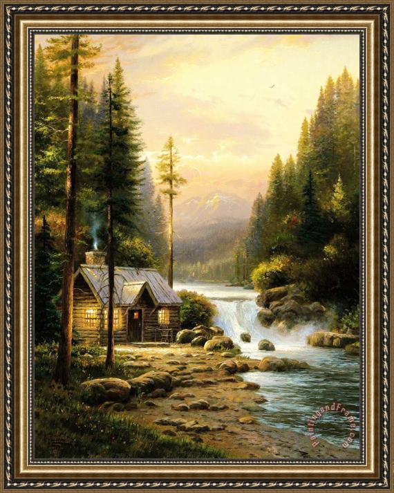 Thomas Kinkade Evening in The Forest Framed Painting