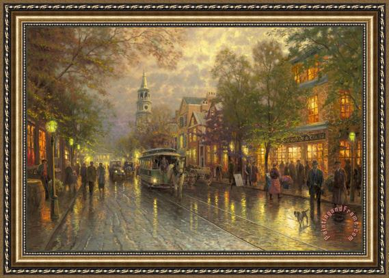 Thomas Kinkade Evening on The Avenue Framed Print