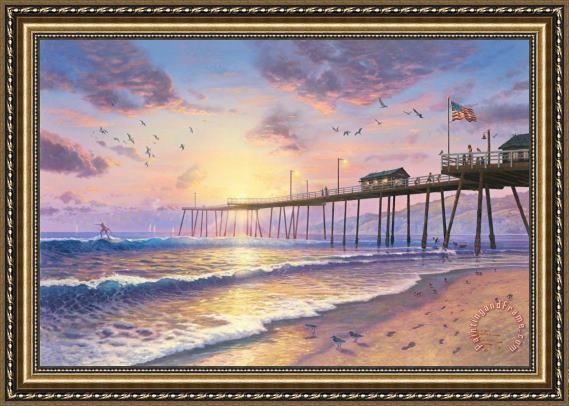 Thomas Kinkade Footprints in The Sand Framed Print