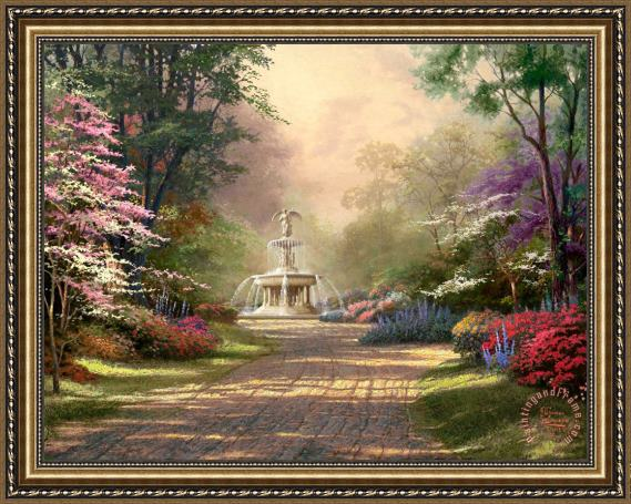 Thomas Kinkade Fountain of Blessings Framed Painting