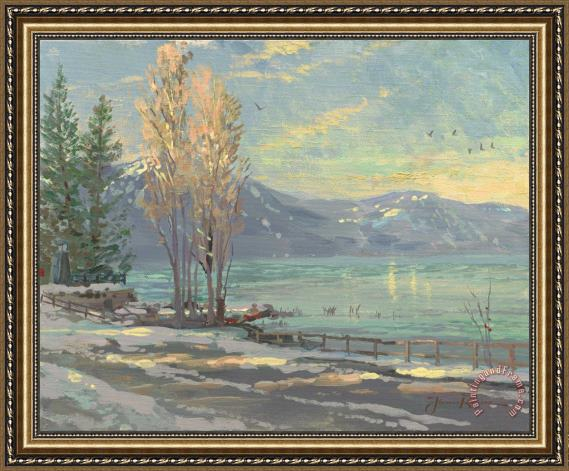 Thomas Kinkade Lake Tahoe Shoreline, Winter Framed Painting