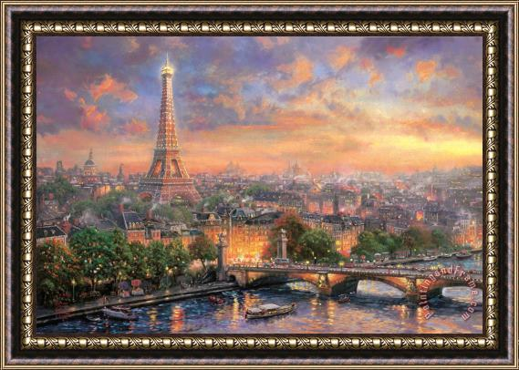 Thomas Kinkade Paris, City of Love Framed Print
