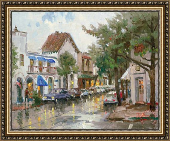 Thomas Kinkade Rainy Day in Carmel Framed Print