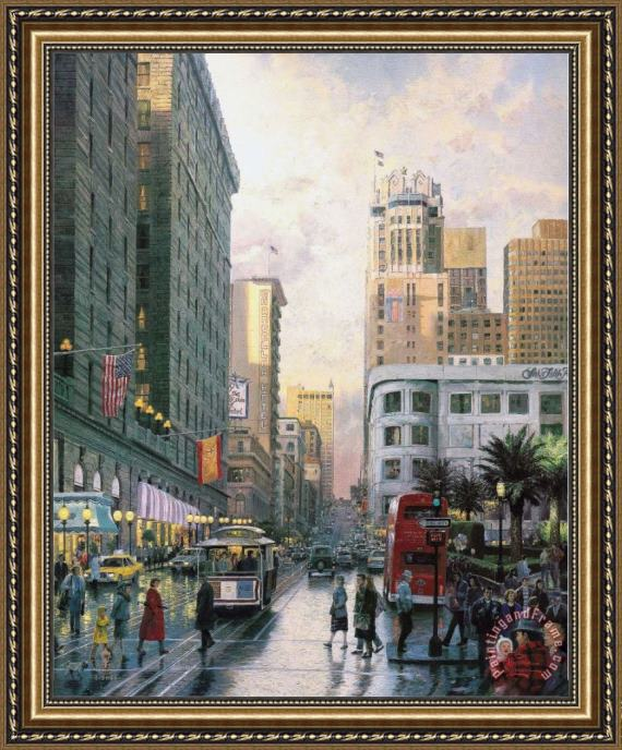 Thomas Kinkade San Francisco, Late Afternoon at Union Square Framed Painting