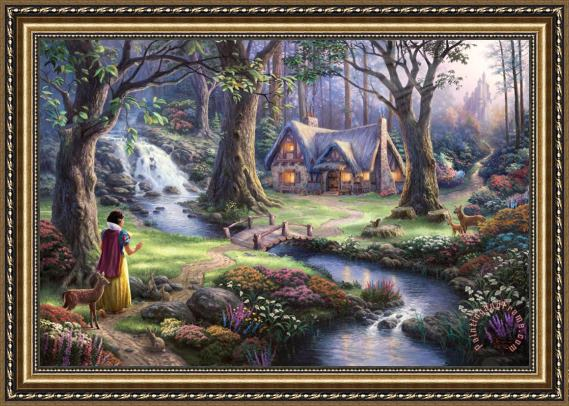 Thomas Kinkade Snow White Discovers The Cottage Framed Print